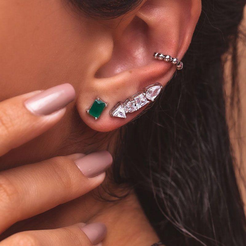 Brinco ear cuff formas cristais ródio branco