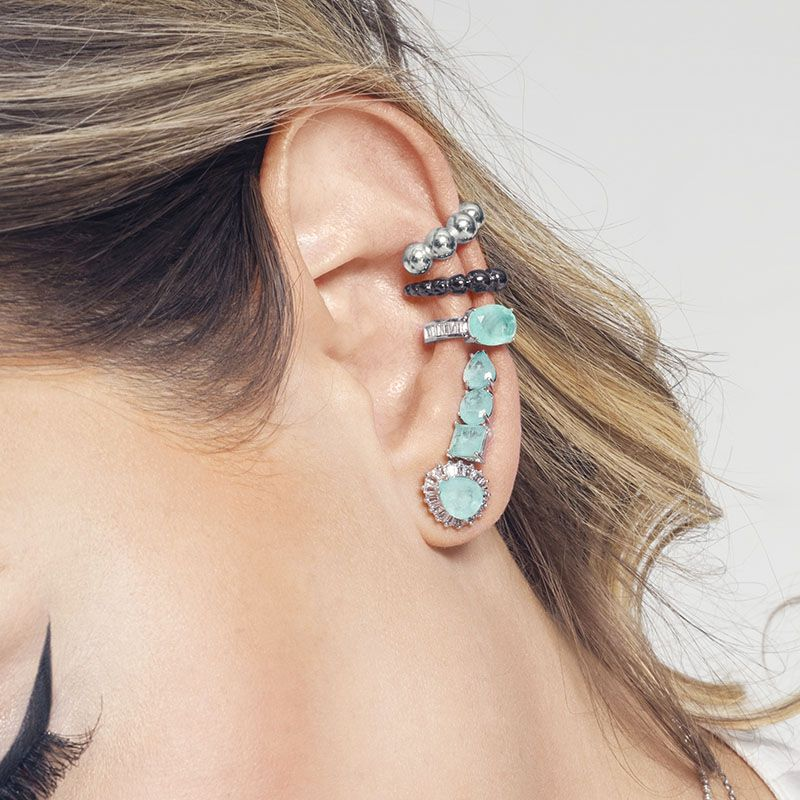 Brinco ear cuff geométrico verde água fusion ródio branco