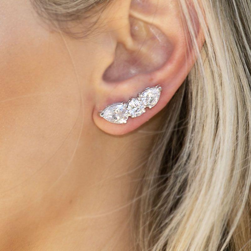Brinco ear cuff gota cristal ródio branco