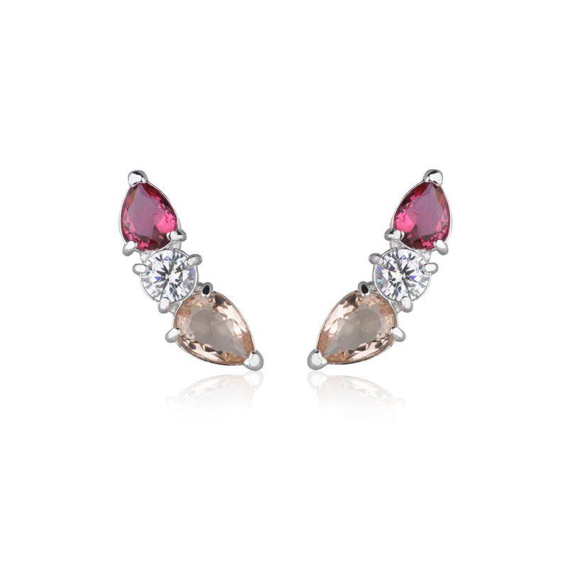 Brinco ear cuff gota rose e rubi cristal ródio branco semi joia