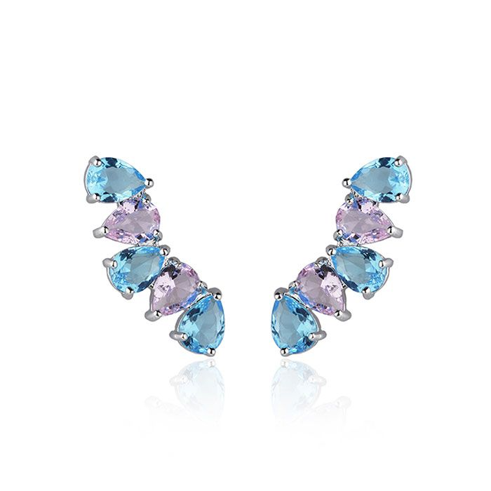 Brinco Ear Cuff Gotas Azuis e Rosas Ródio Branco