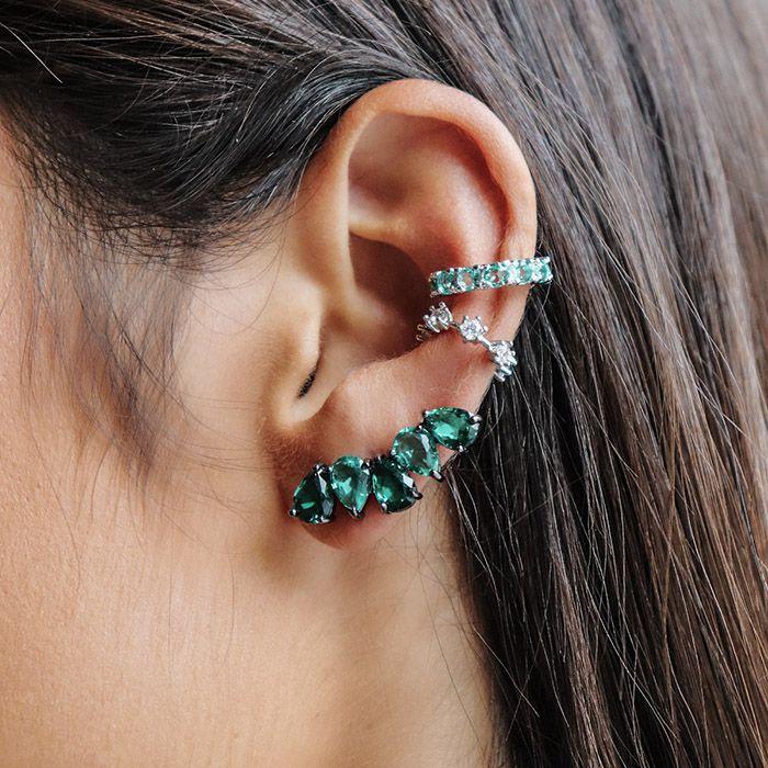 Brinco Ear Cuff Gotas Cor Esmeralda Ródio Negro