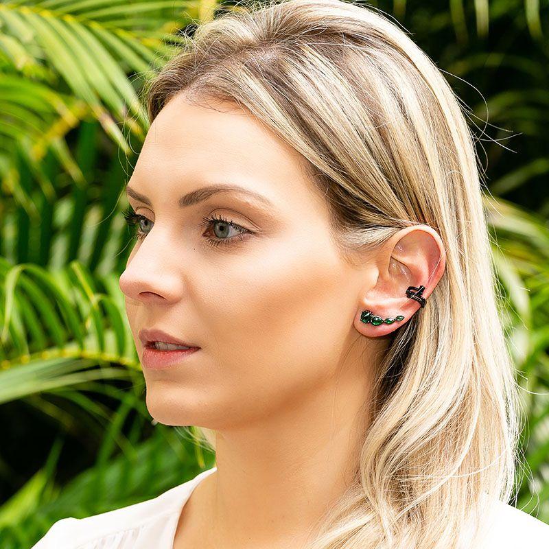 Brinco ear cuff gotas esmeralda ródio negro