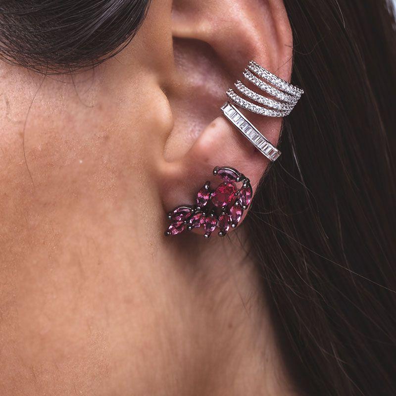 Brinco ear cuff gotinhas cor rubi ródio negro
