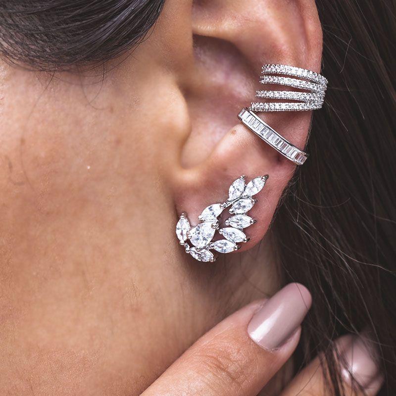 Brinco ear cuff gotinhas cristais ródio branco