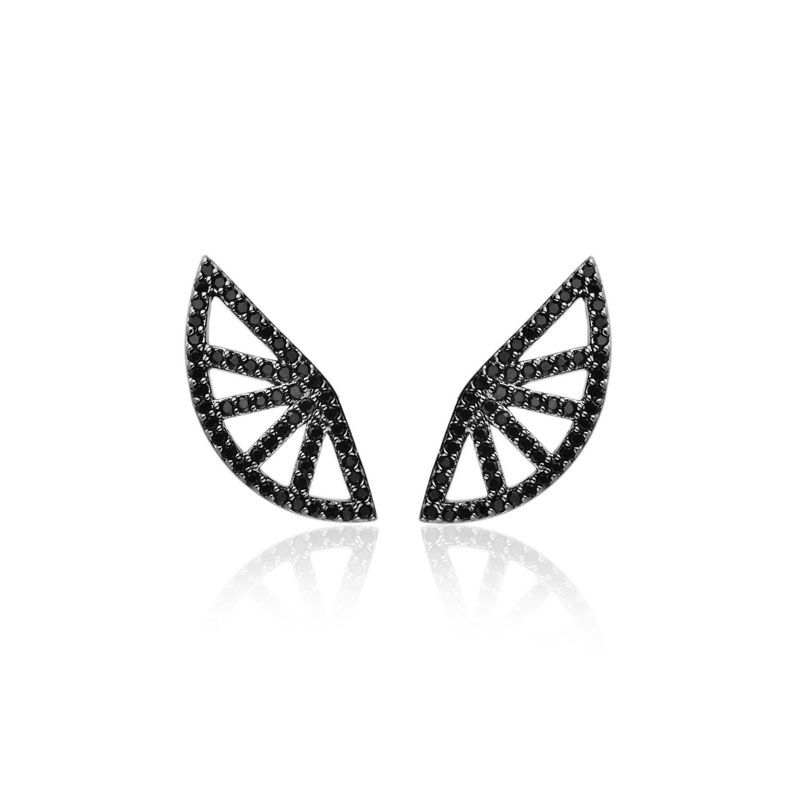 Brinco ear cuff leque cravejado negro ródio negro