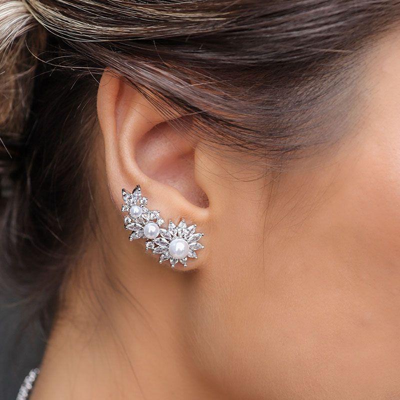 Brinco Ear Cuff Linha Noiva Pérolas Ródio Branco
