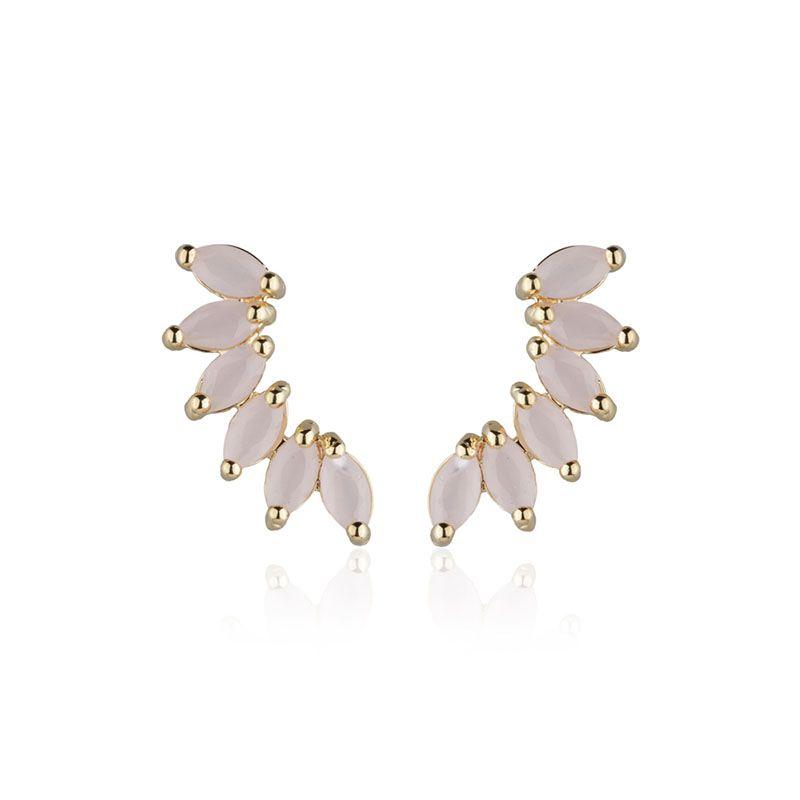Brinco ear cuff navetes quartzo rosa banho de ouro