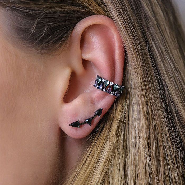 Brinco Ear Cuff Negro Delicado Ródio Negro