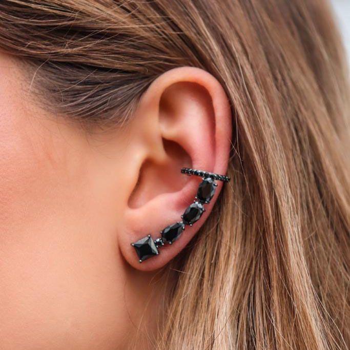 Brinco Ear Cuff Negro Ródio Negro