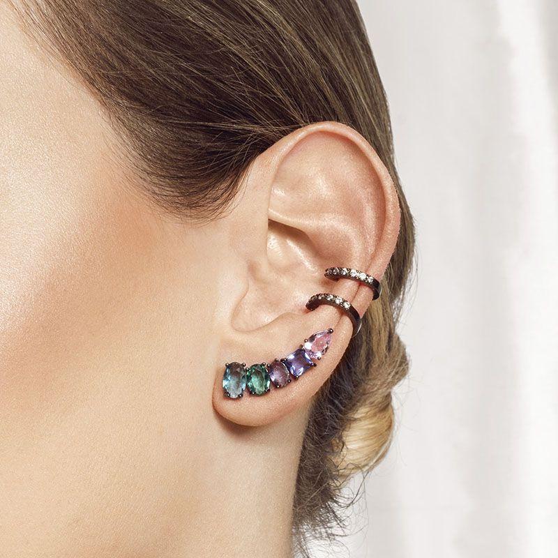 Brinco ear cuff pedras coloridas ródio negro