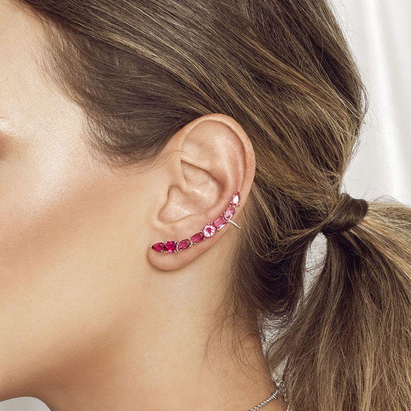 Brinco ear cuff pedras cor rubi ródio branco