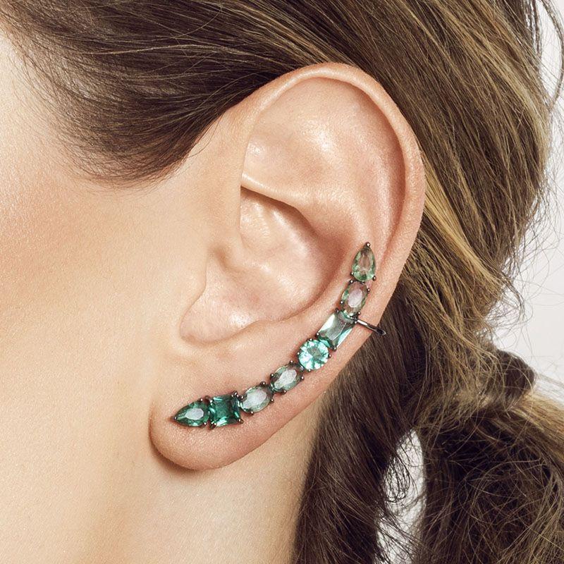 Brinco ear cuff pedras cor turmalina ródio negro
