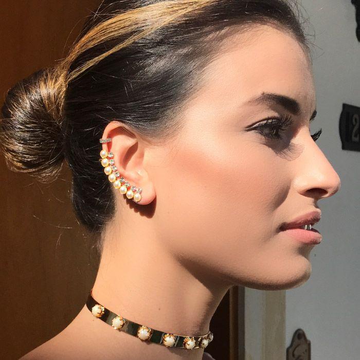 BRINCO EAR CUFF PÉROLAS STRASS CRISTAL DOURADO