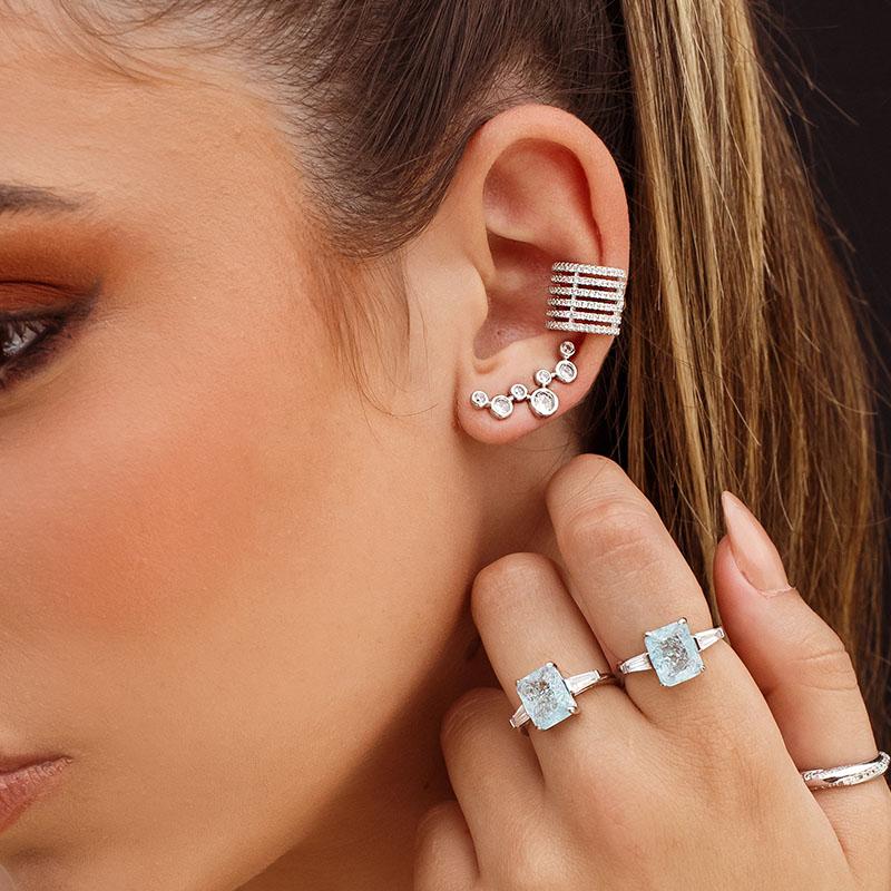 Brinco ear cuff pontos de luz ródio branco