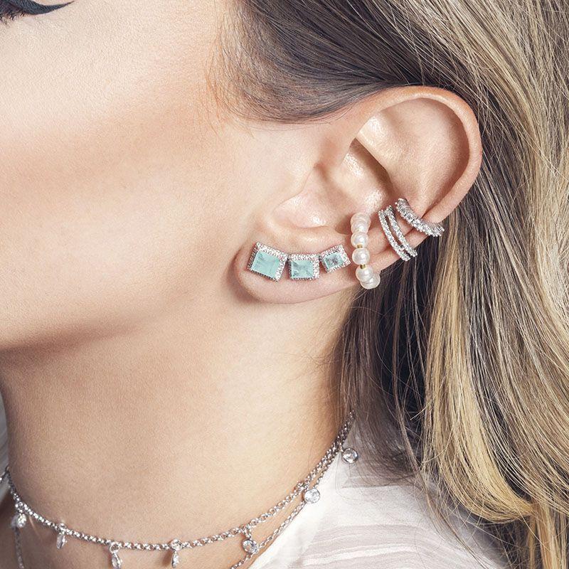 Brinco ear cuff retângulos cravejados verde água fusion ródio