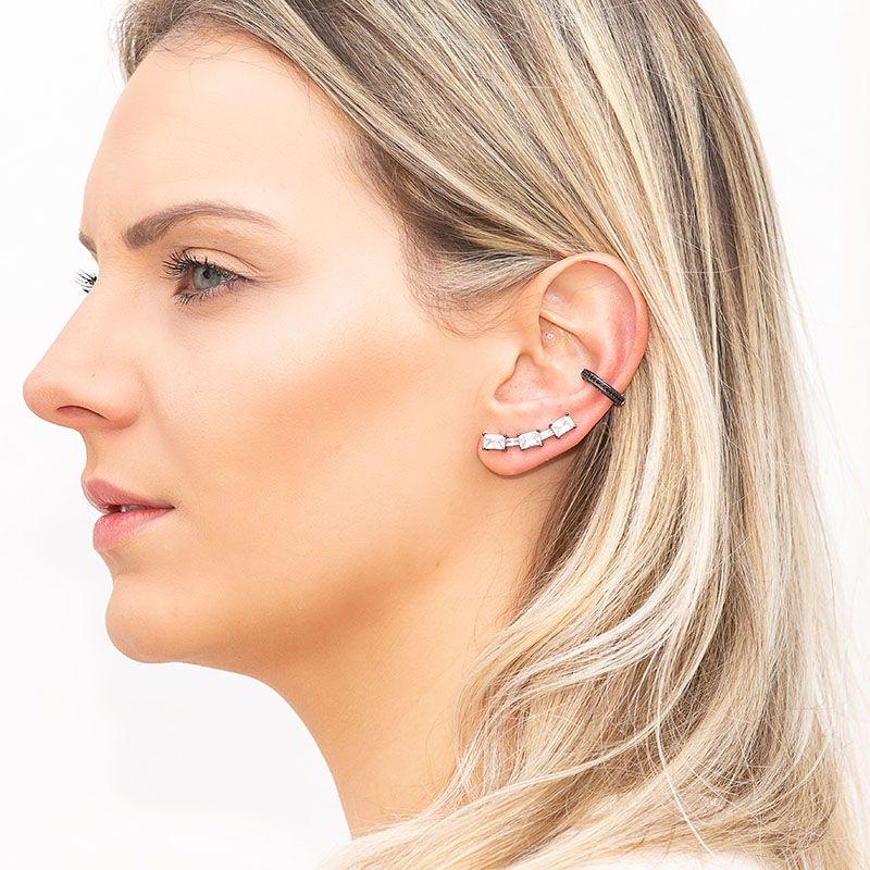 Brinco ear cuff retângulos cristais ródio negro semi joia