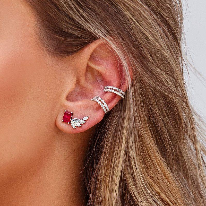 Brinco ear cuff segundo furo cor água marinha e cristal