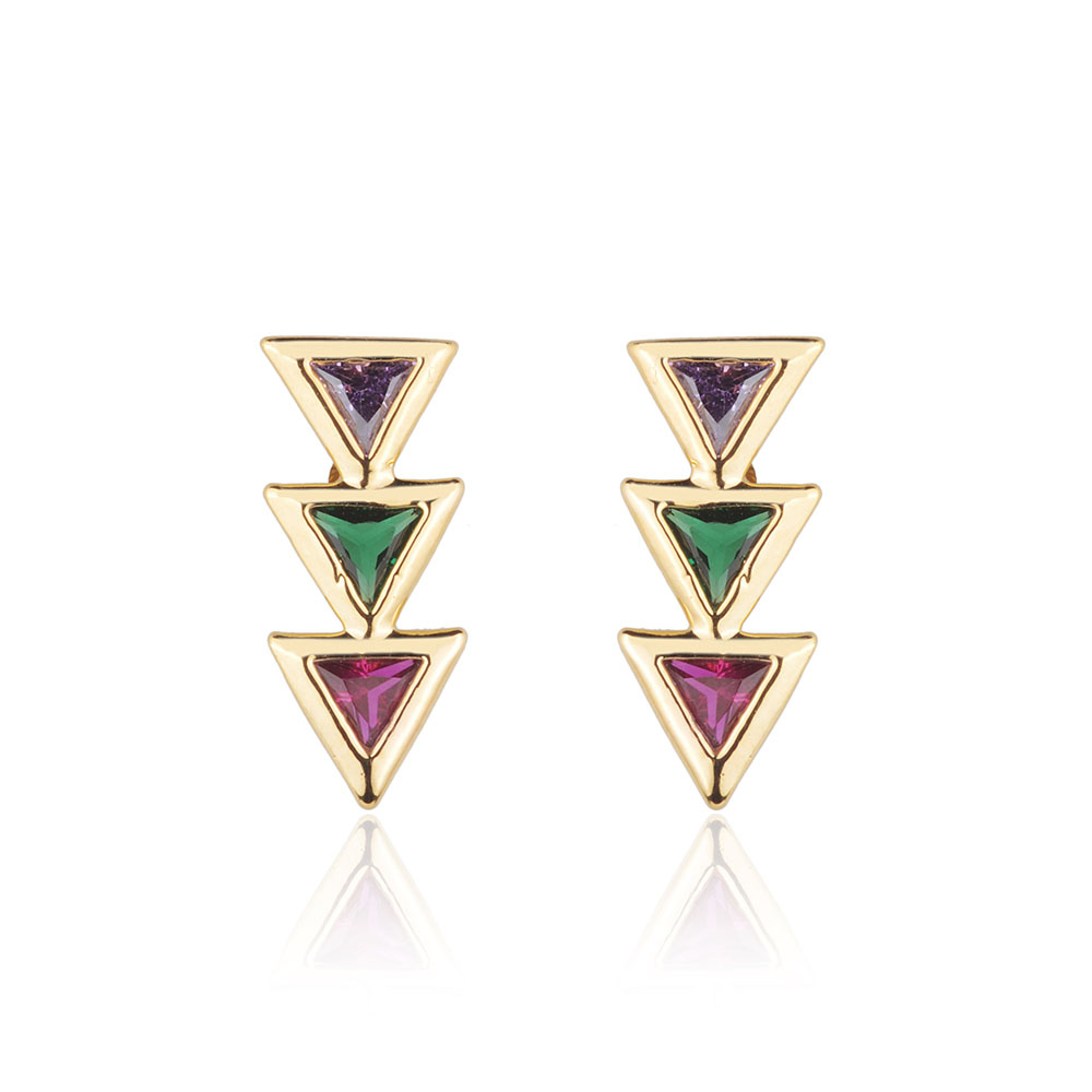 Brinco ear cuff triângulos coloridos banho de ouro