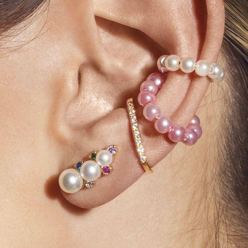 Brinco ear cuff trio pérolas e zircônias coloridas banho de ouro
