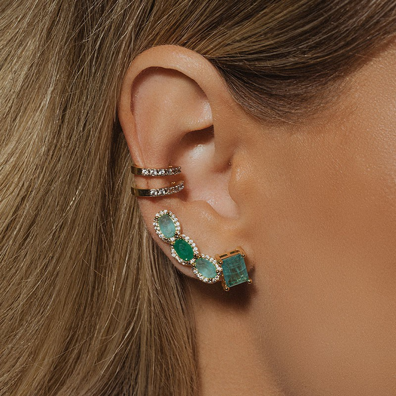 Brinco ear cuff turmalina e esmeralda fusion oval banho de ouro 18k