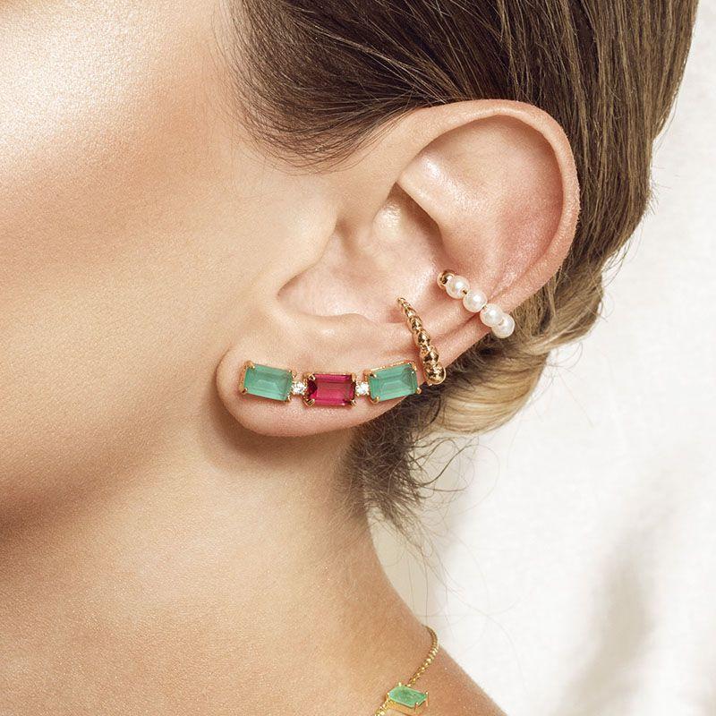 Brinco ear cuff turmalina fusion e rubi banho de ouro