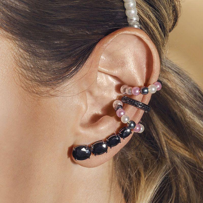 Brinco ear cuff zircônia black ródio negro