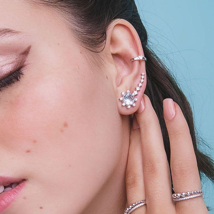 Brinco ear cuff zircônias ródio branco semi joia