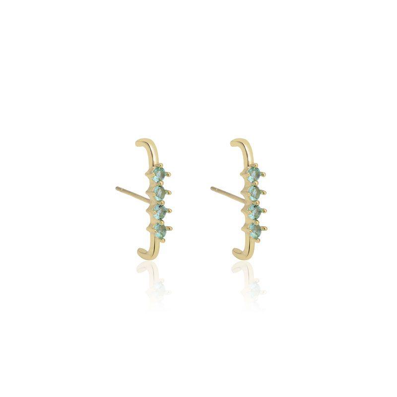 Brinco ear hook cravejado cor turmalina banho de ouro