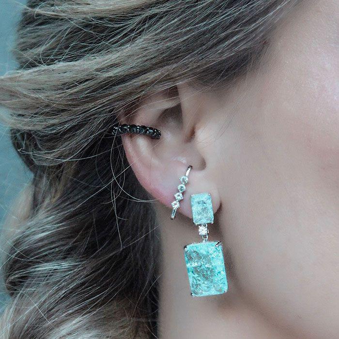 Brinco Ear Hook Cravejado Zircônias Cor Aquamarine