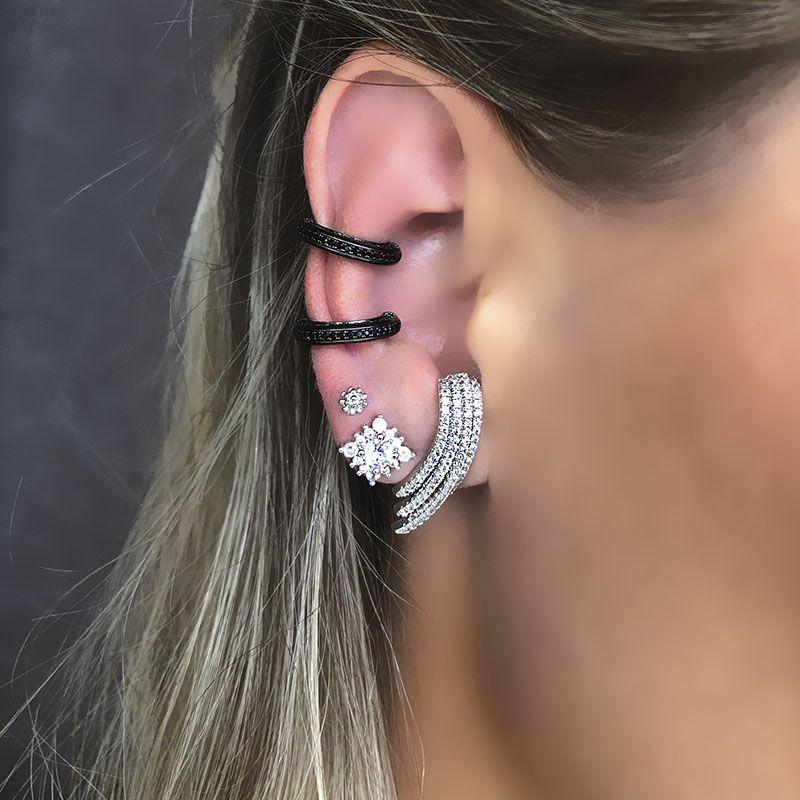 Brinco ear hook cravejado zircônias cristais ródio branco
