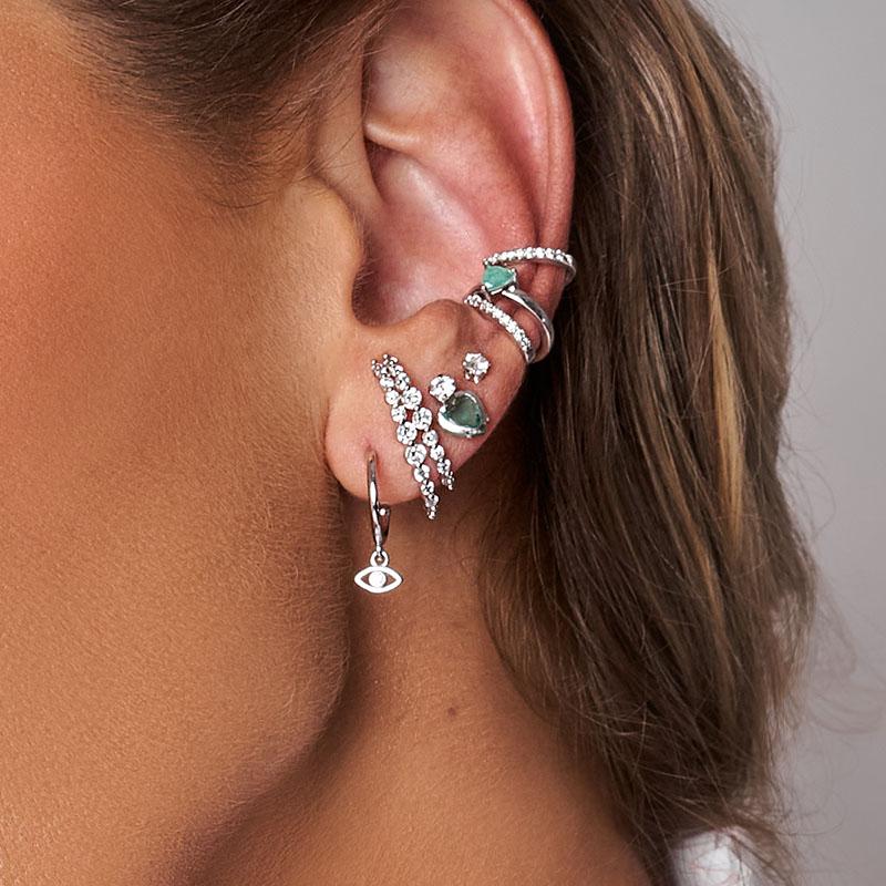 Brinco ear hook duplo cravejado de zircônias ródio branco