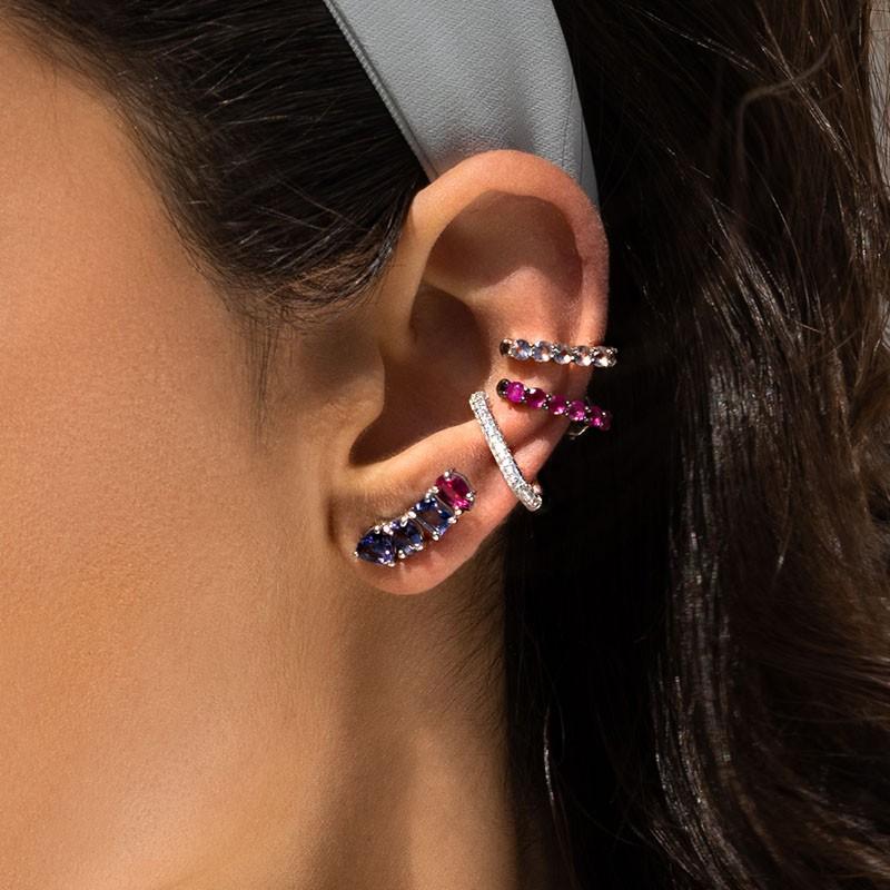 Brinco ear hook fake em prata 925 tubo cravejado ródio branco