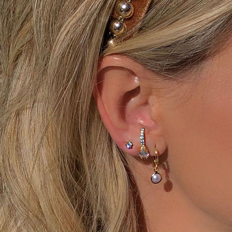 Brinco Ear Hook Gota Cristal Banho de Ouro