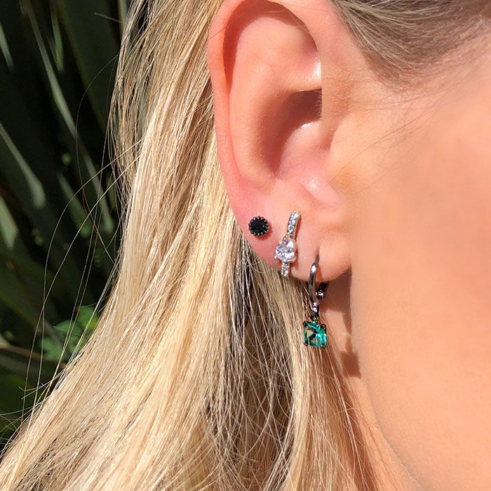 Brinco Ear Hook Gota Cristal Ródio Branco