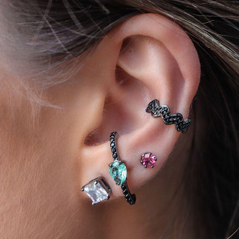 Brinco Ear Hook Gota Turmalina Fusion Ródio Negro
