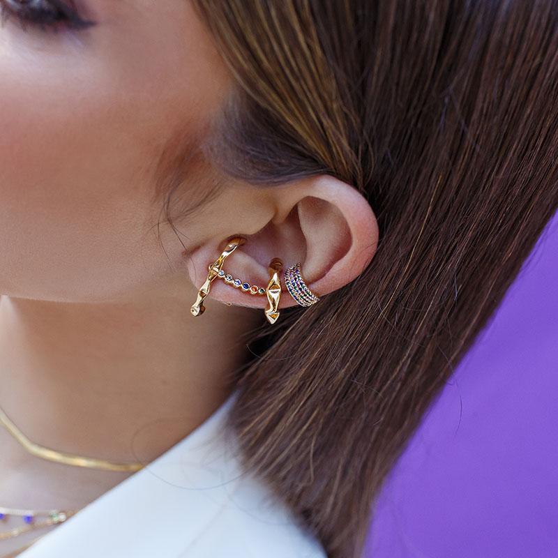 Brinco ear hook Juliette banho de ouro 18k