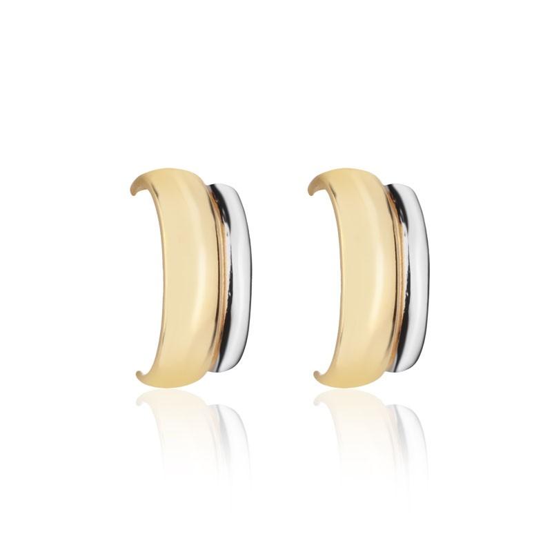 Brinco ear hook liso ouro com detalhe ródio branco