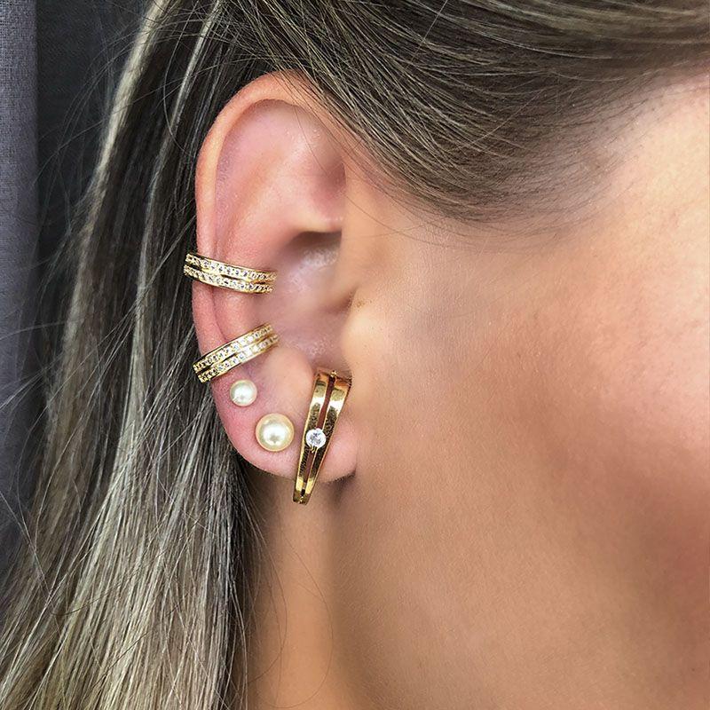 Brinco ear hook moderno zircônia folheado a ouro