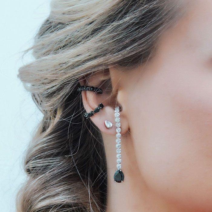 Brinco Ear Hook Pêndulo Gota Negra Ródio Branco