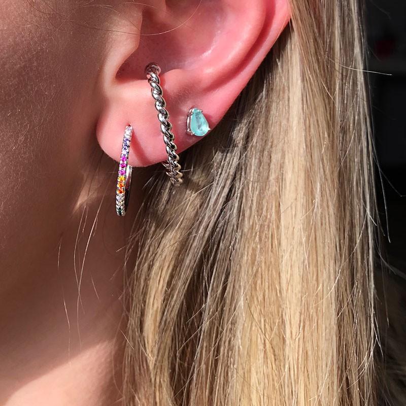 Brinco ear hook unitário de encaixe trançado ródio branco