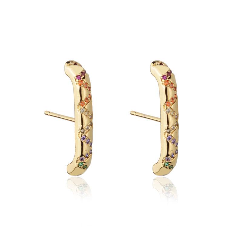 Brinco ear hook ziguezague cristais coloridos banho de ouro