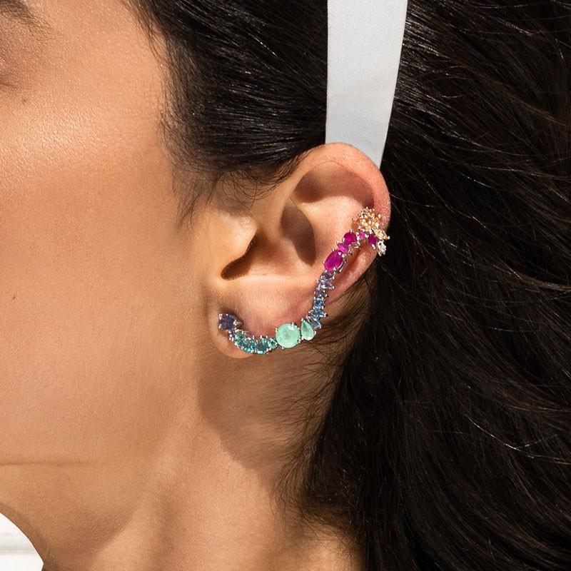 Brinco em prata 925 ear cuff com piercing fake pedras luxuosas