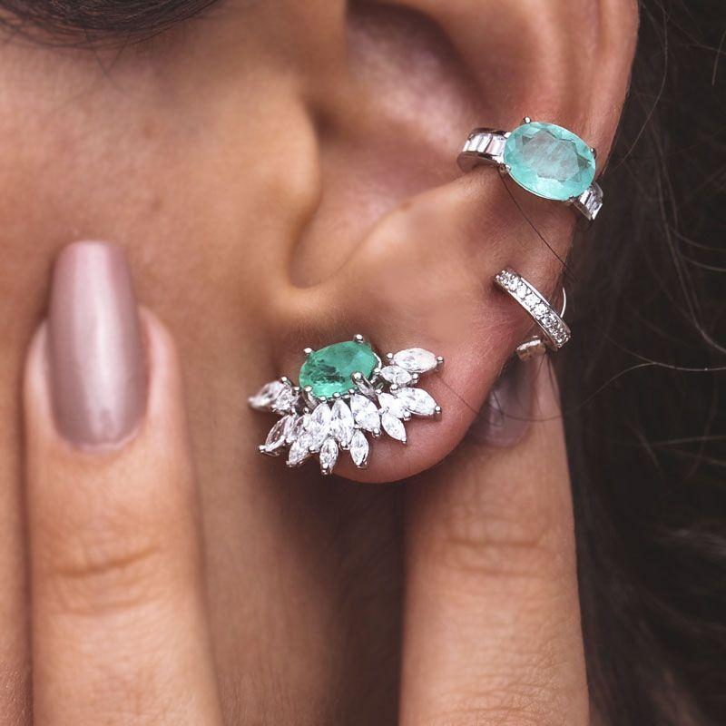 Brinco em prata 925 ear cuff flor turmalina fusion original ródio