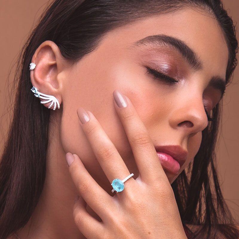 Brinco em prata 925 ear cuff moderno cravejado detalhes cor água marinha