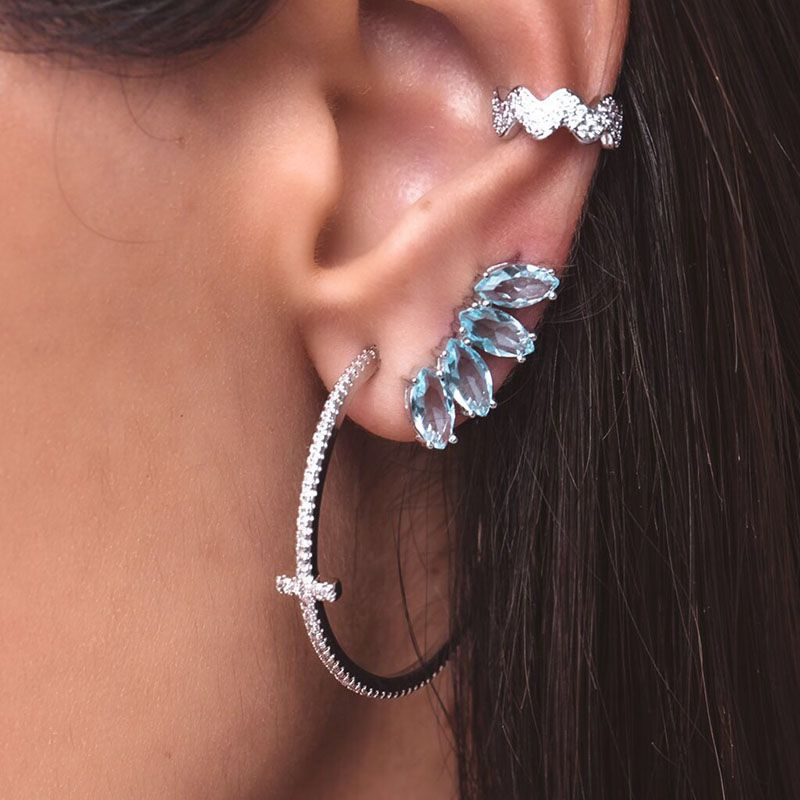 Brinco em prata 925 ear cuff navetes cor água marinha ródio branco