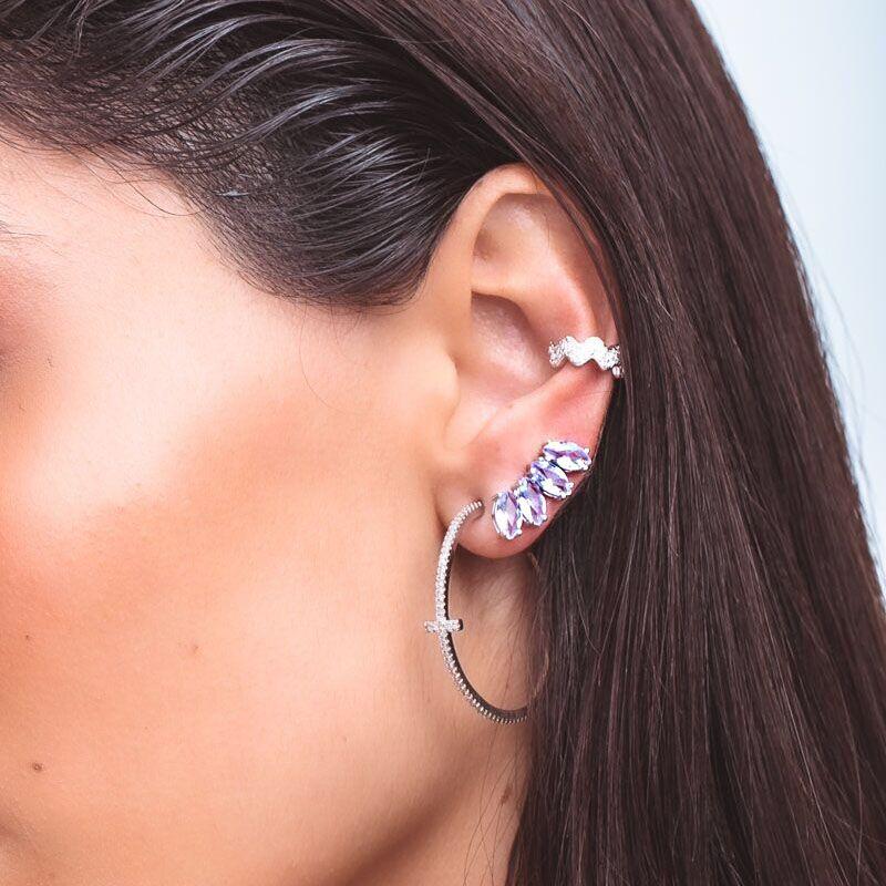 Brinco em prata 925 ear cuff navetes cor tanzanita ródio branco