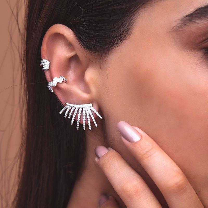 Brinco em prata 925 ear cuff para noivas raios ródio branco