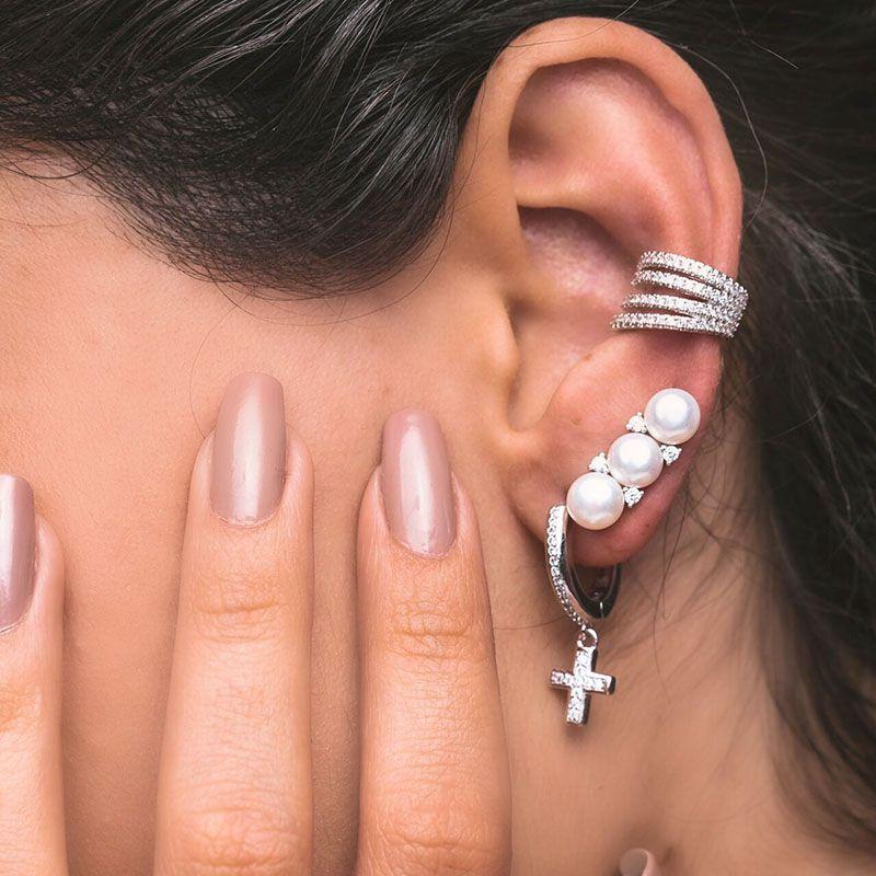 Brinco em prata 925 ear cuff pérolas e zircônias ródio branco