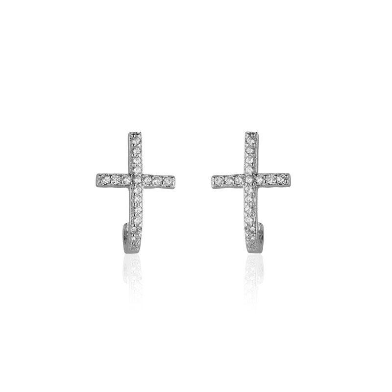 Brinco em prata 925 ear hook cruz cravejada ródio branco